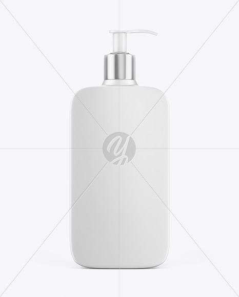 Matte Plastic Square Cosmetic Bottle With Pump - Frontal View Mockup
