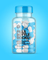 Clear Pills Bottle with Flip Top Cap Mockup