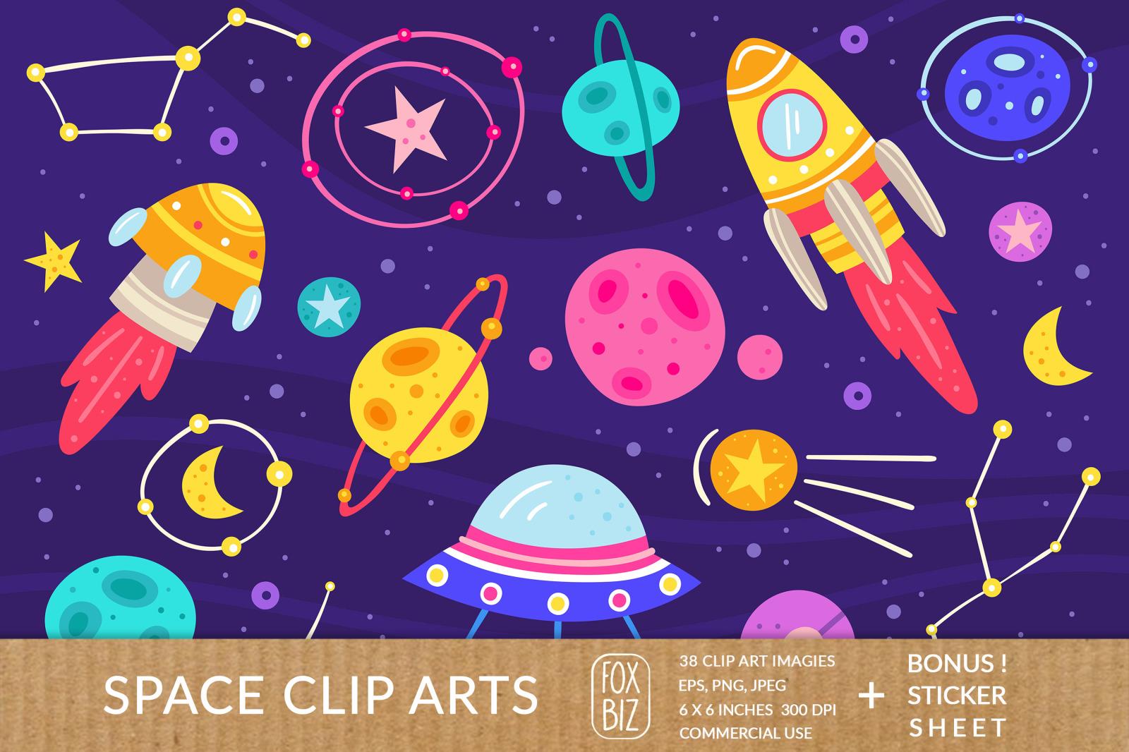 Space clipart. Digital prints, stickers. Vector, flat set.