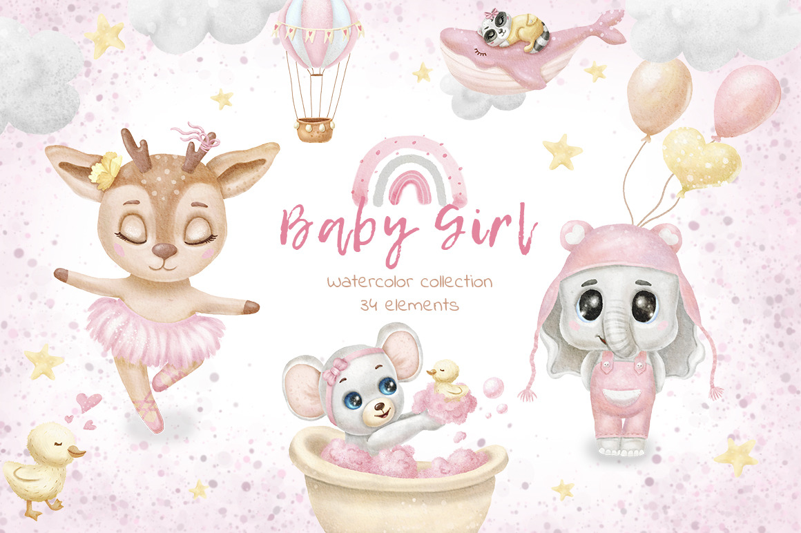 Baby Girl Clipart Baby Pink Graphics Watercolor Baby Shower Clipart Baby Animals Deer Raccoon In Illustrations On Yellow Images Creative Store