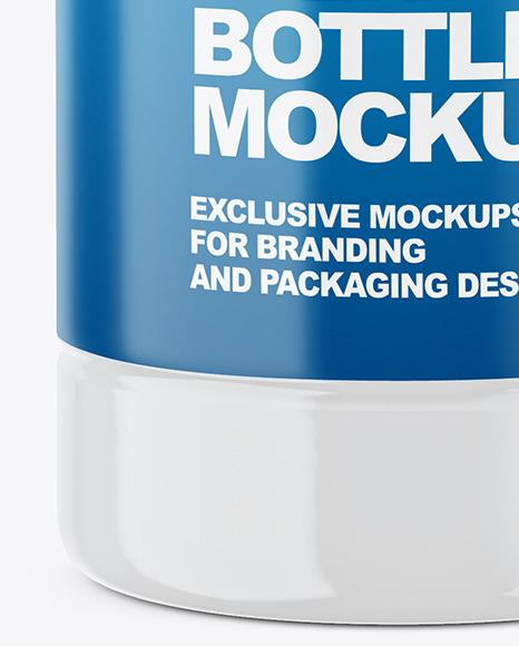 Glossy Plastic Milk Bottle Mockup - Front View