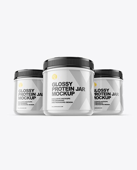 Three Glossy Protein Jars Mockup