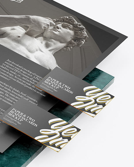 A4 Paper & Two Business Cards with Marble Mockup