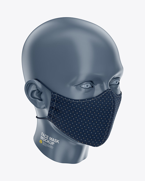 Face Mask with Elastic Cord and Stopper - Front Half-Side View High Angle