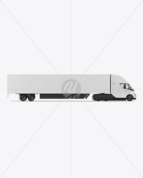 Electric Semi-Truck with Trailer Mockup - Yellowimages Mockups