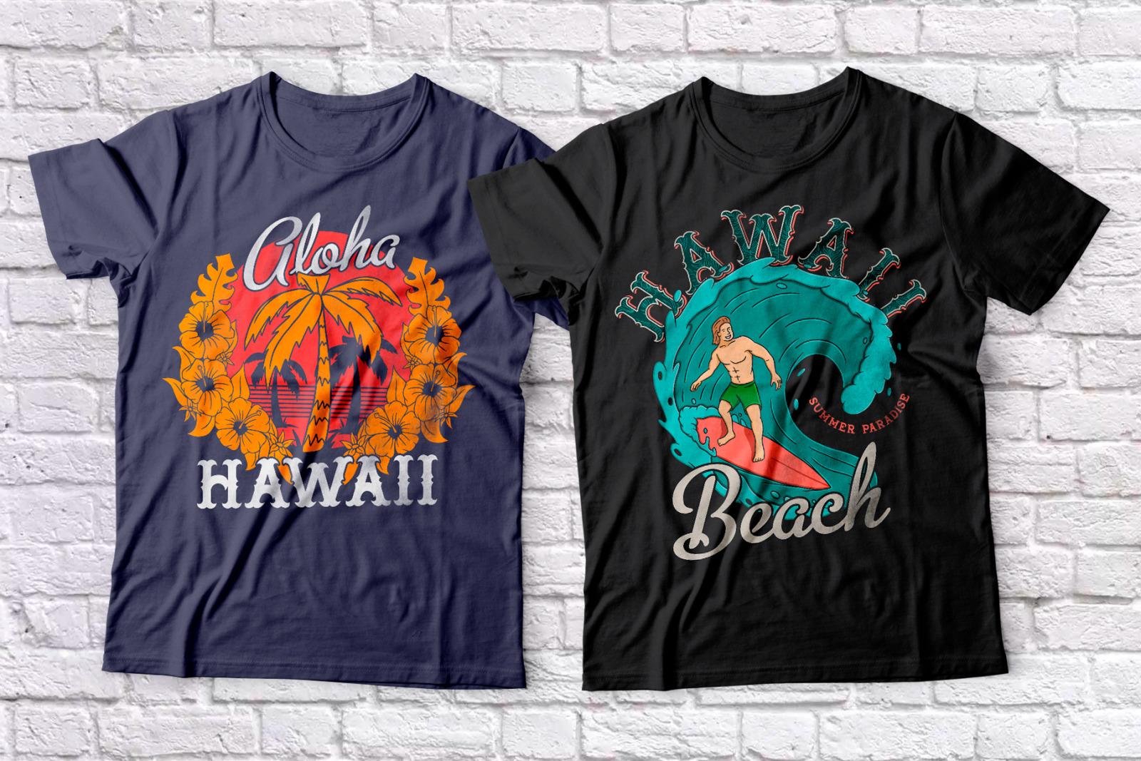 Hawaii Beach. Font & T-shirts