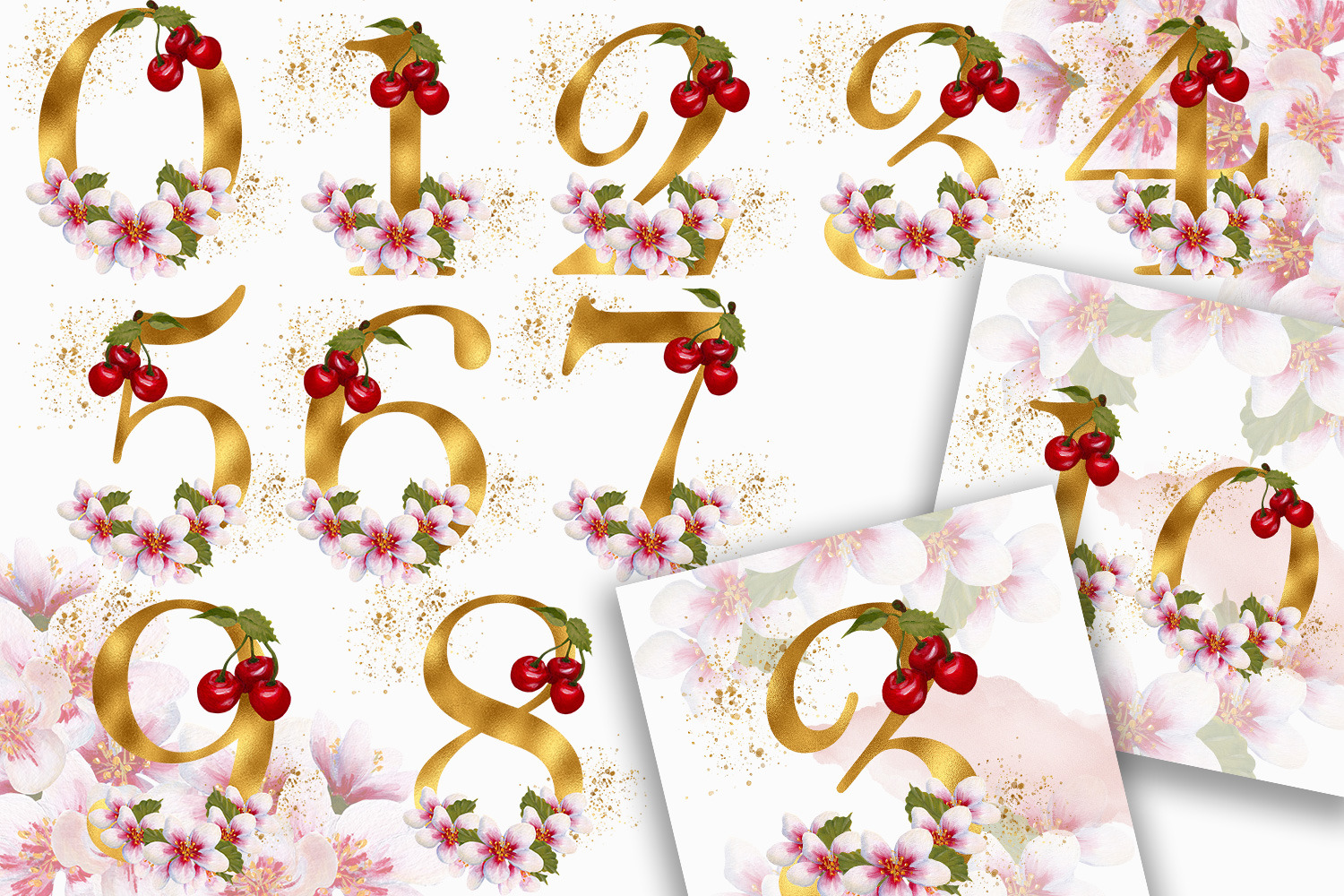 Golden Cherry Blossom Alphabet and Numbers