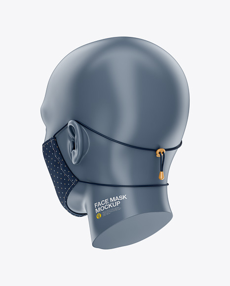 Face Mask With Elastic Cord And Stopper Back Half Side View In