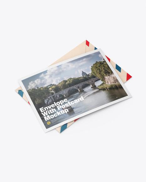 Envelope w/ Postcard Mockup
