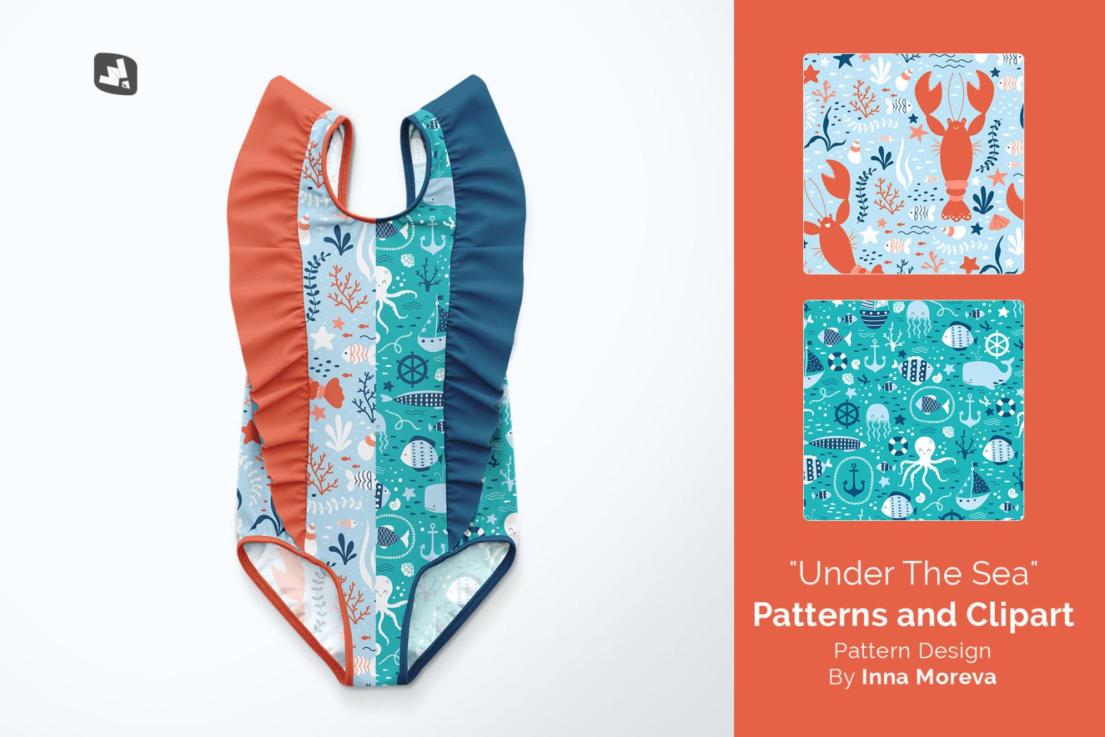 Baby Girl's Ruffled Swimsuit Mockup