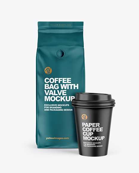 Download Matte Coffee Bag With Cup Mockup In Bag Sack Mockups On Yellow Images Object Mockups PSD Mockup Templates