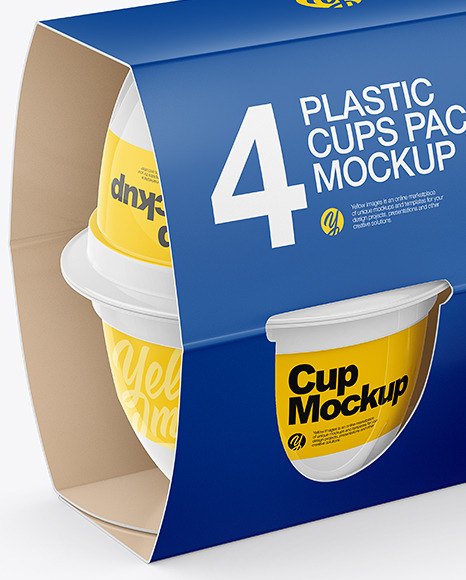 4 Plastic Cups Matte Paper Pack Mockup - Half Side View