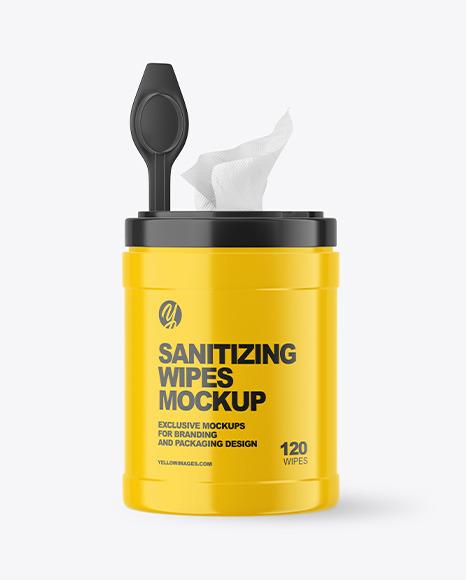 Glossy Opened Sanitizing Wipes Canister Mockup