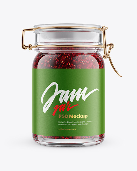 Download Glass Jam Jar With Clamp Lid Mockup In Jar Mockups On Yellow Images Object Mockups PSD Mockup Templates
