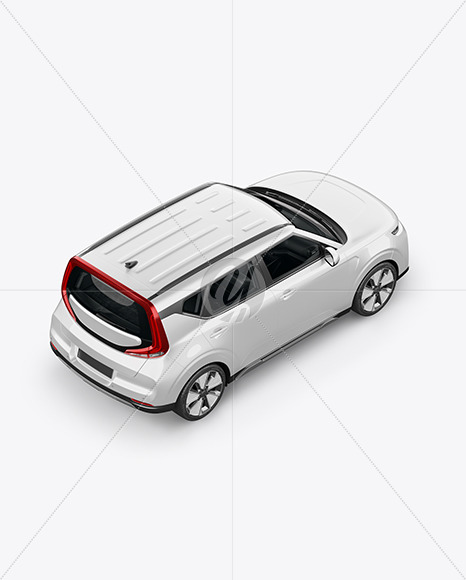 Compact Car Mockup - Top Back Half Side View - Yellowimages Mockups