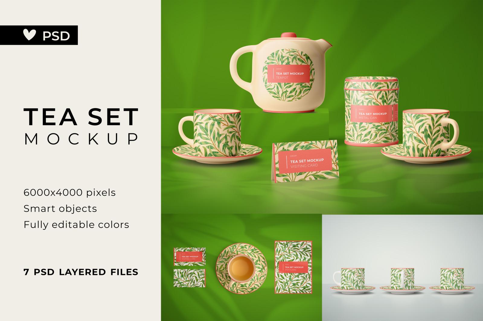 Tea set mockup