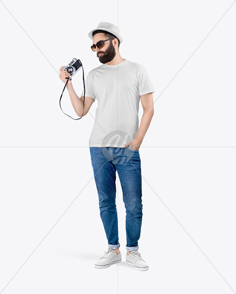 Man in a T-Shirt and Jeans Mockup