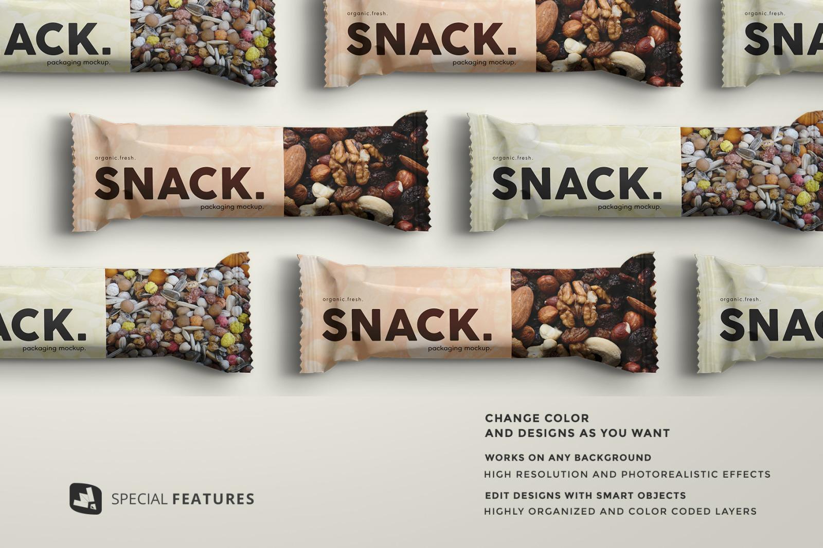 Organic Snack Bar Packaging Mockup