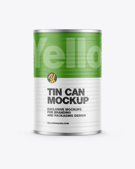 Metallic Tin Can w/ Matte Finish Mockup