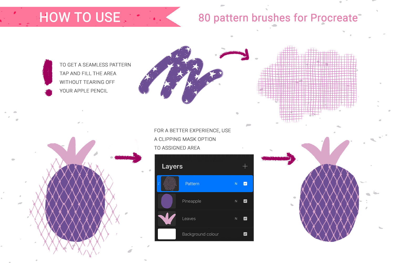 80 hand-drawn patterns for Procreate