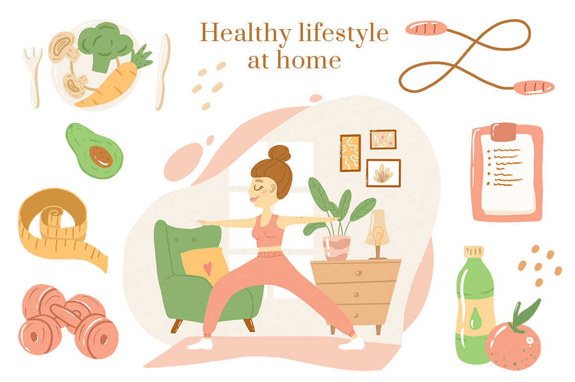 Happy at home. Woman's daily routine. Sweet home cliparts