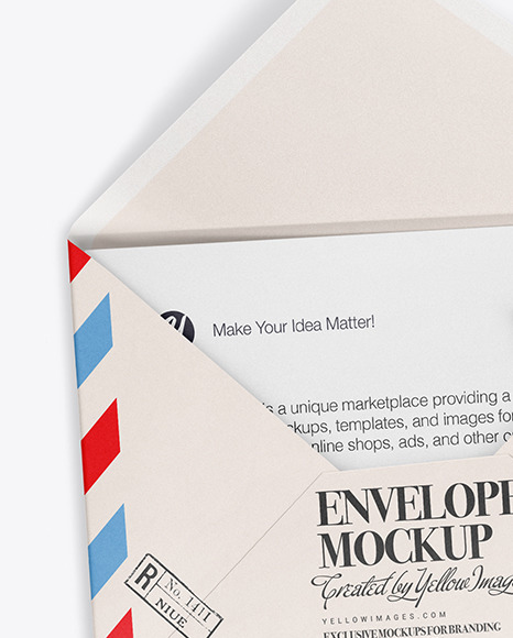Download A5 Envelope And Two Cards Mockup In Stationery Mockups On Yellow Images Object Mockups PSD Mockup Templates
