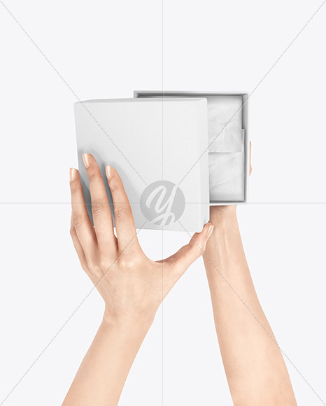 Gift Box in Hands Mockup