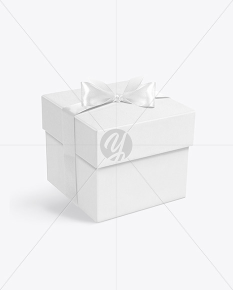 Square Gift Box w/ Bow Mockup