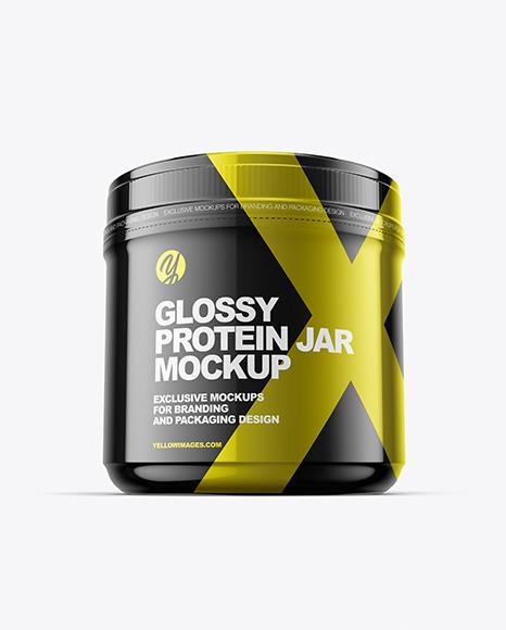Glossy Protein Jar Mockup