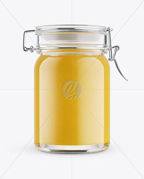 Download Clear Glass Honey Jar In Paperboard Sleeve Mockup PSD - Free PSD Mockup Templates