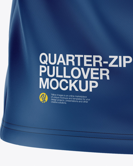Men's  Raglan Quarter-Zip Pullover Mockup - Back View