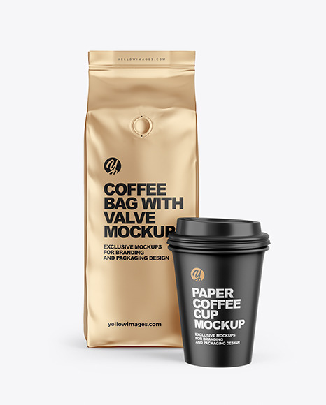 Download Metallic Coffee Bag With Cup Mockup In Bag Sack Mockups On Yellow Images Object Mockups PSD Mockup Templates