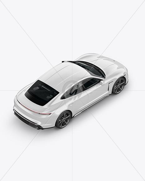 Electric Sport Car Mockup - Back HalfSide View (High-Angle Shot) - Yellowimages Mockups