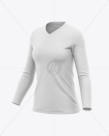 Women's Long Sleeve T-Shirt Mockup - Front Half Side View
