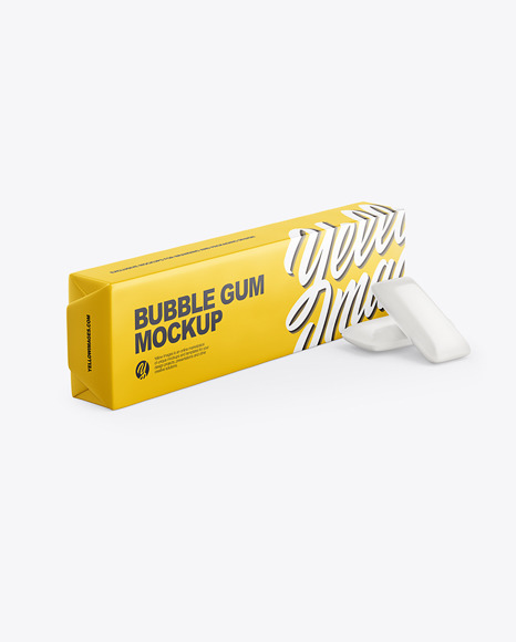 Chewing Bubble Gum Pads Matte Packaging Mockup - Half Side View