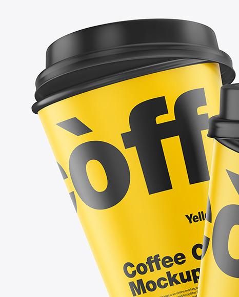 Matte Coffee Cups Mockup