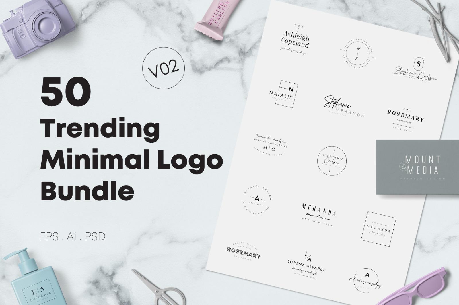 50 Trending Minimal Logo Bundle V02