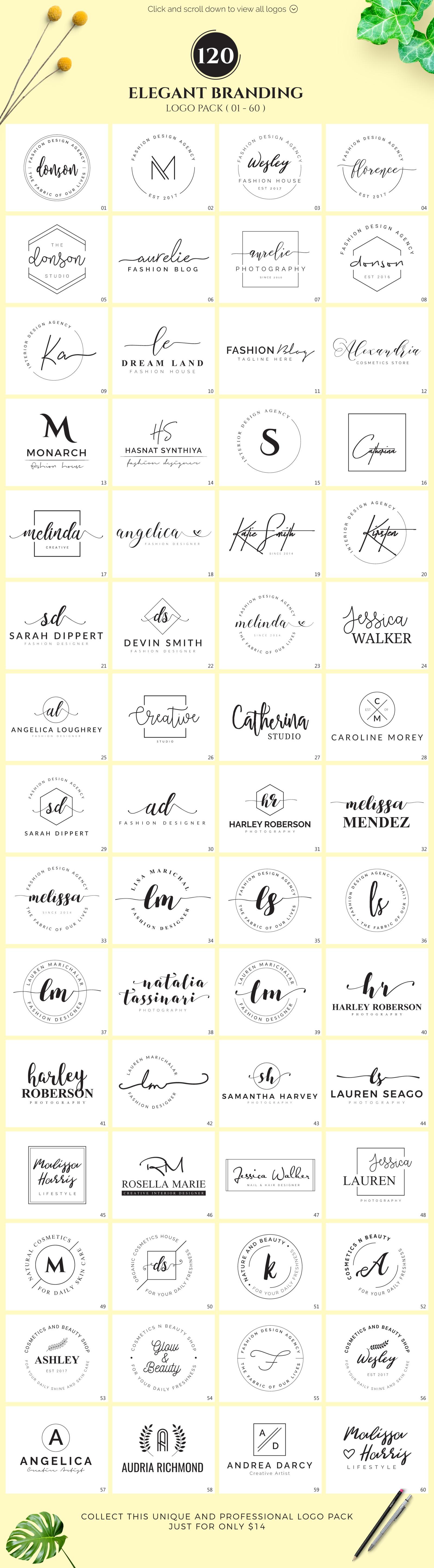 120 Elegant Branding Logo Pack
