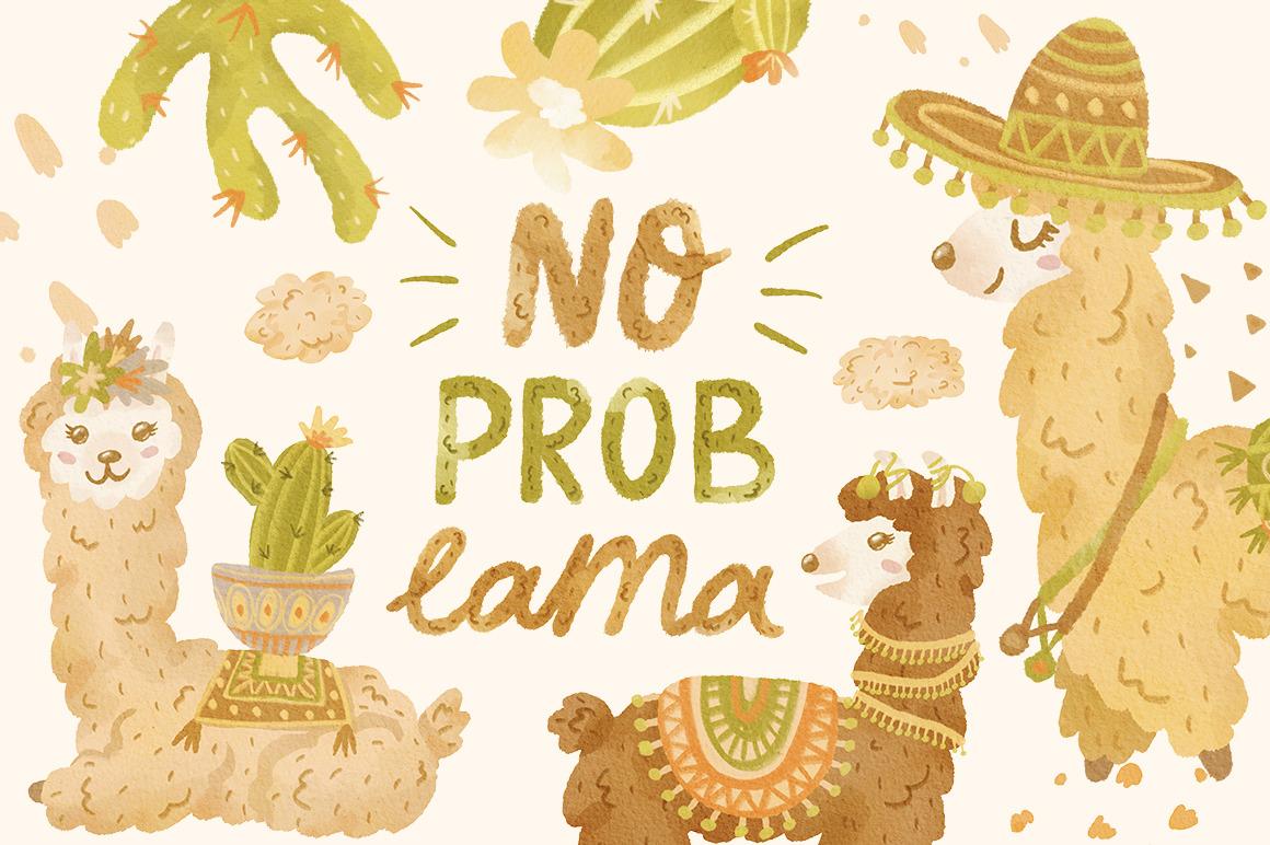 Watercolor lamas clipart set. Cute animals. Alpacas, llamas