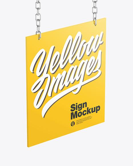 Sign w/ Metallic Chain Mockup