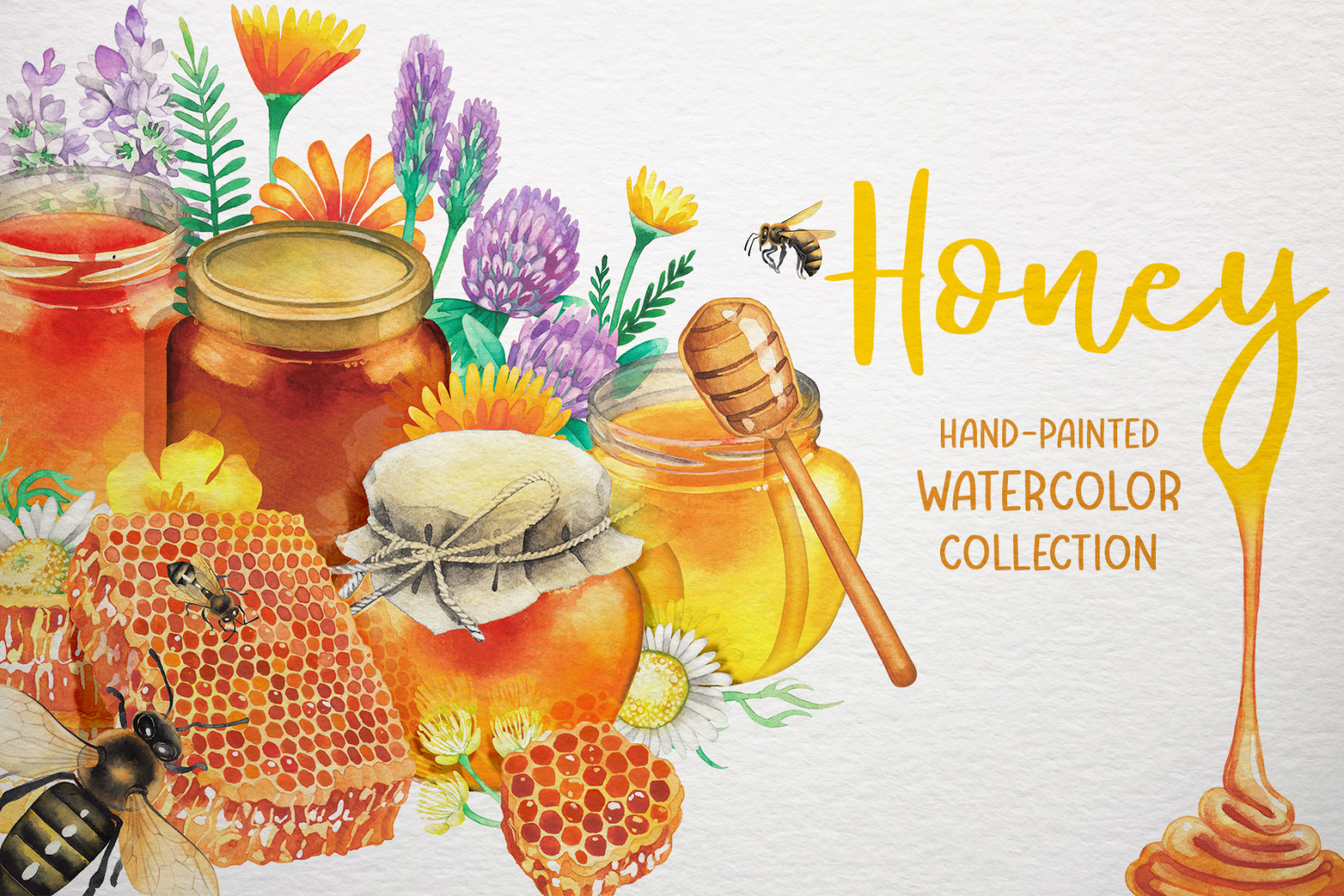 Watercolor honey collection