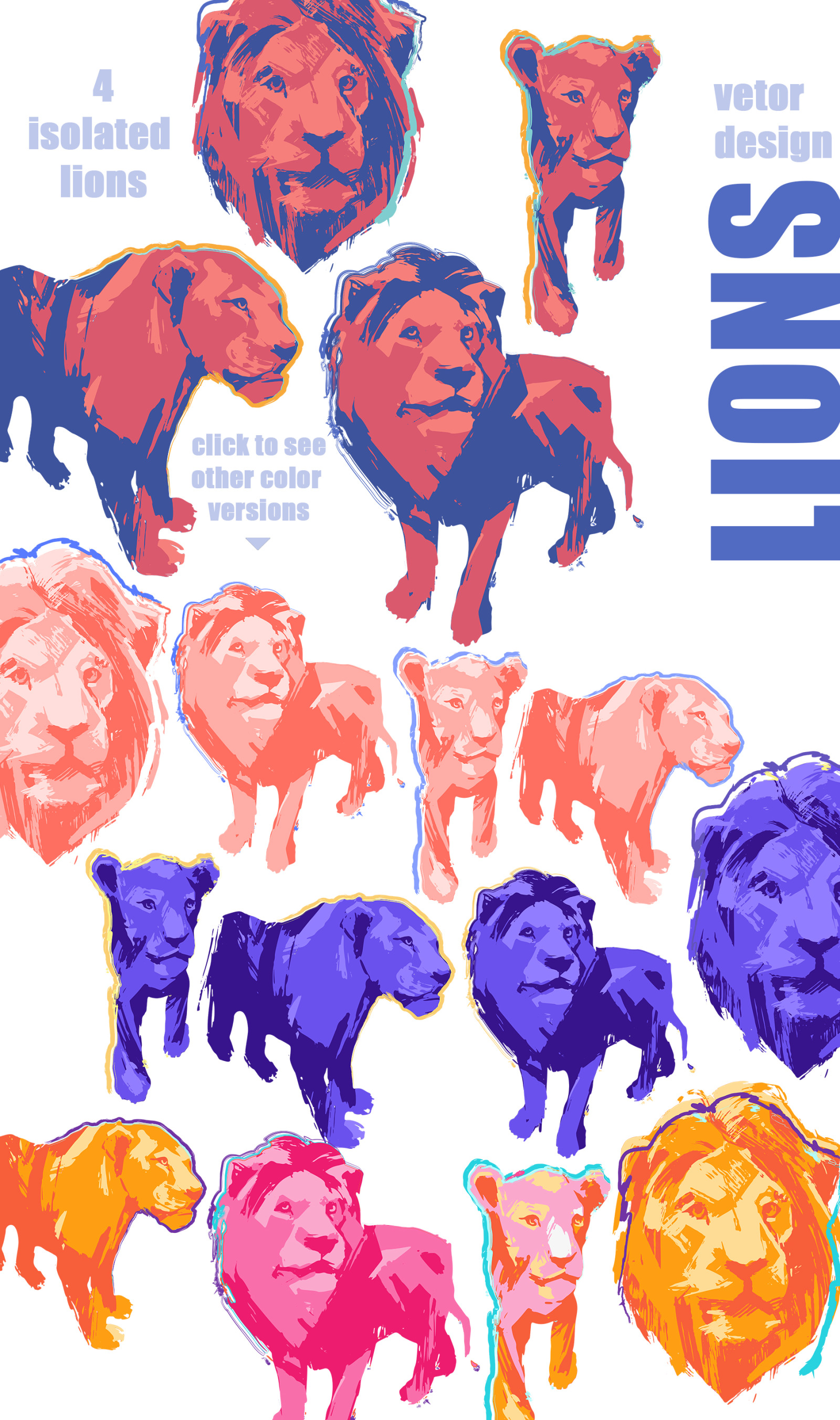 Vector collection of lions