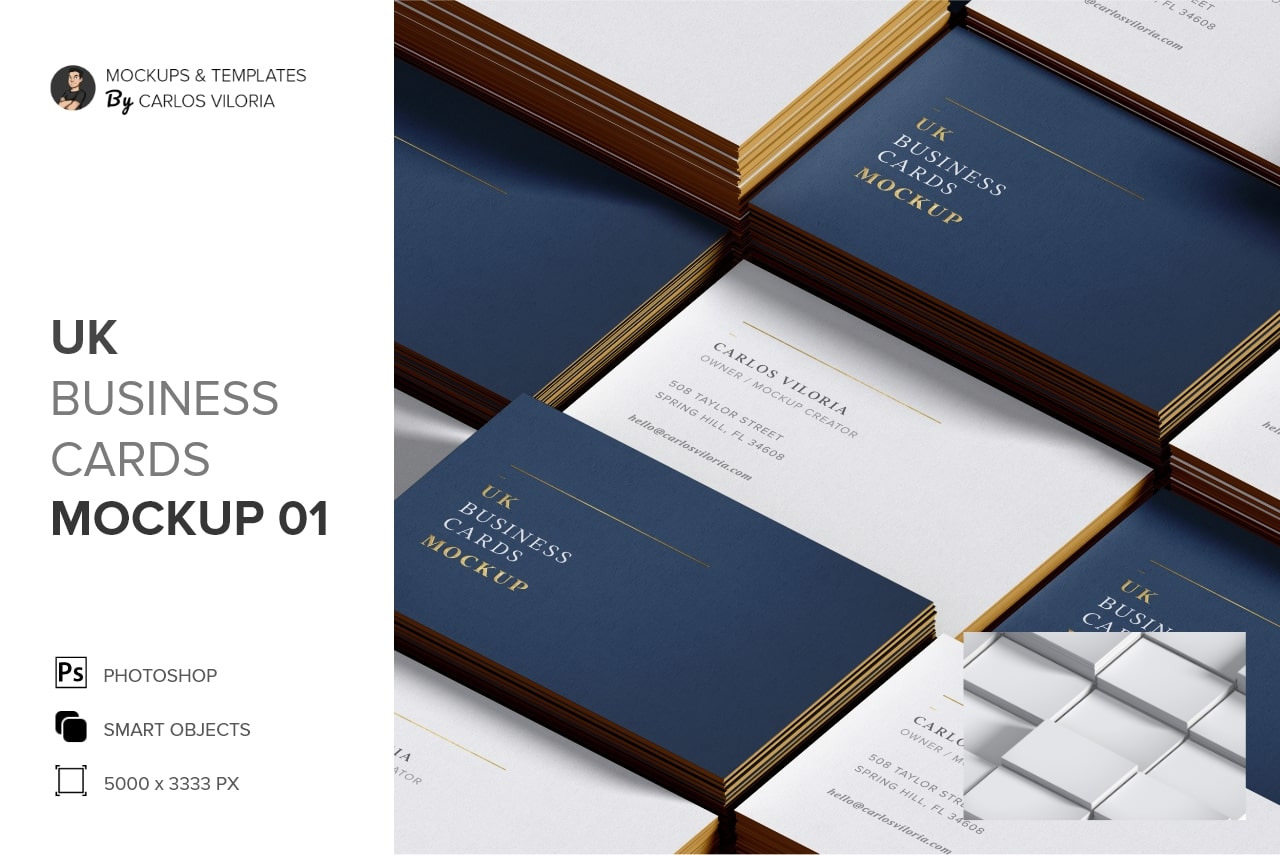 UK Business Cards Mockup 01