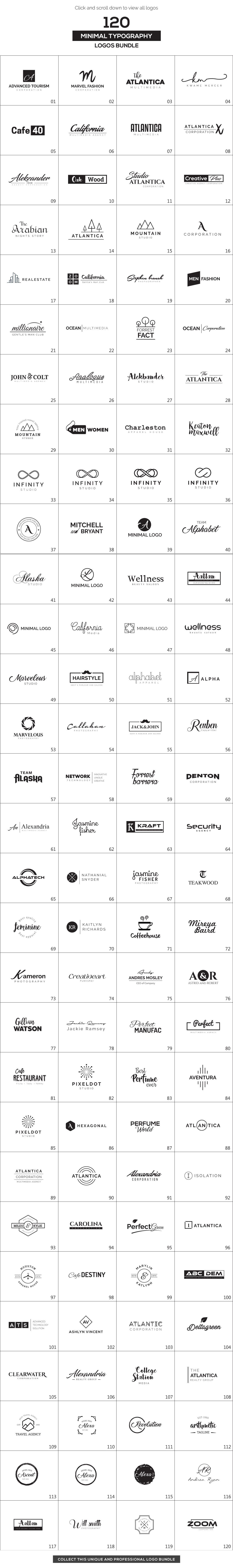 120 Minimal Typography Logos Bundle