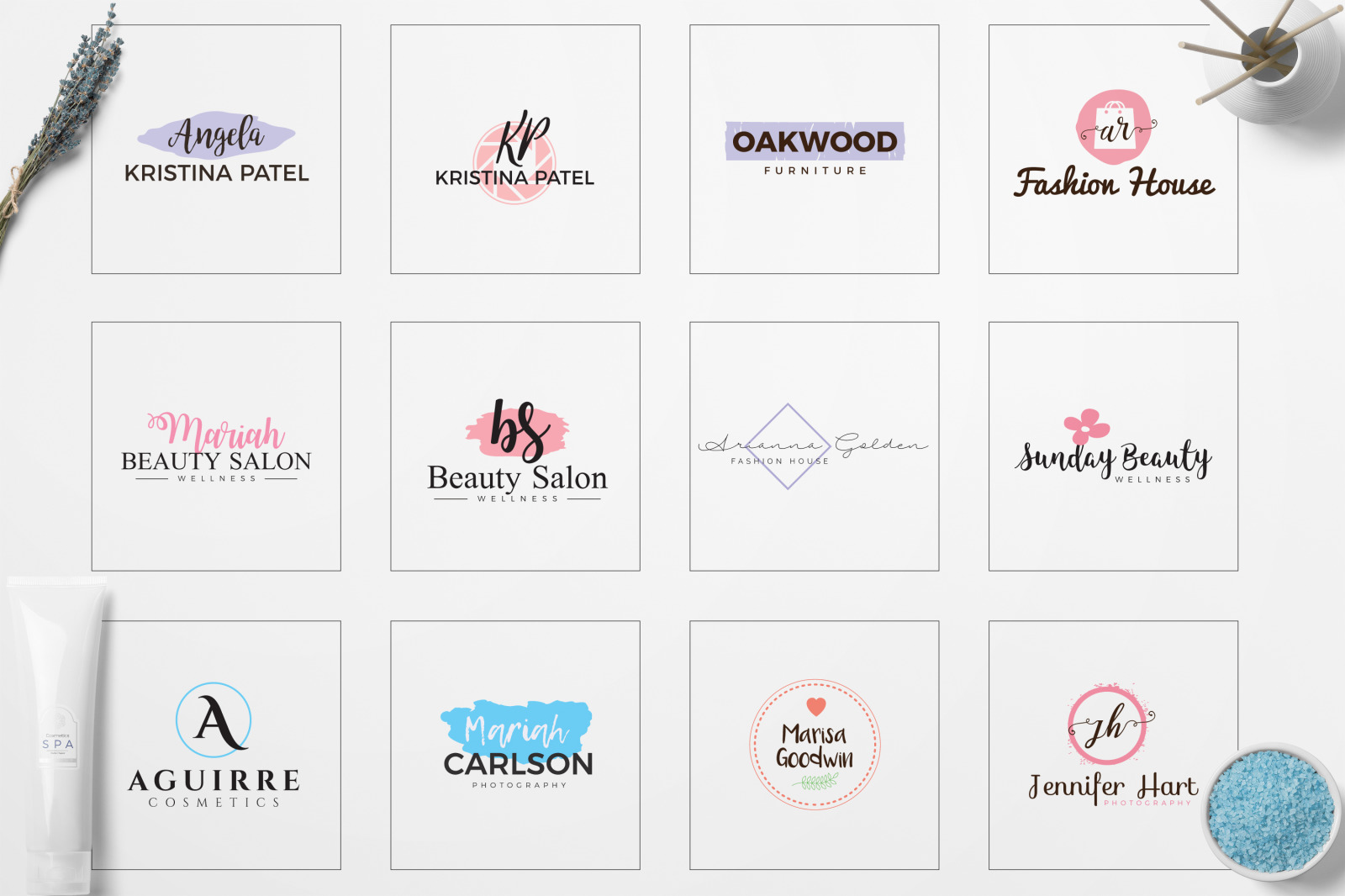 Feminine Minimal Branding Logo Pack
