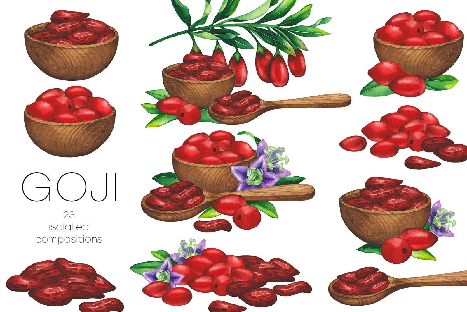 Watercolor goji collection