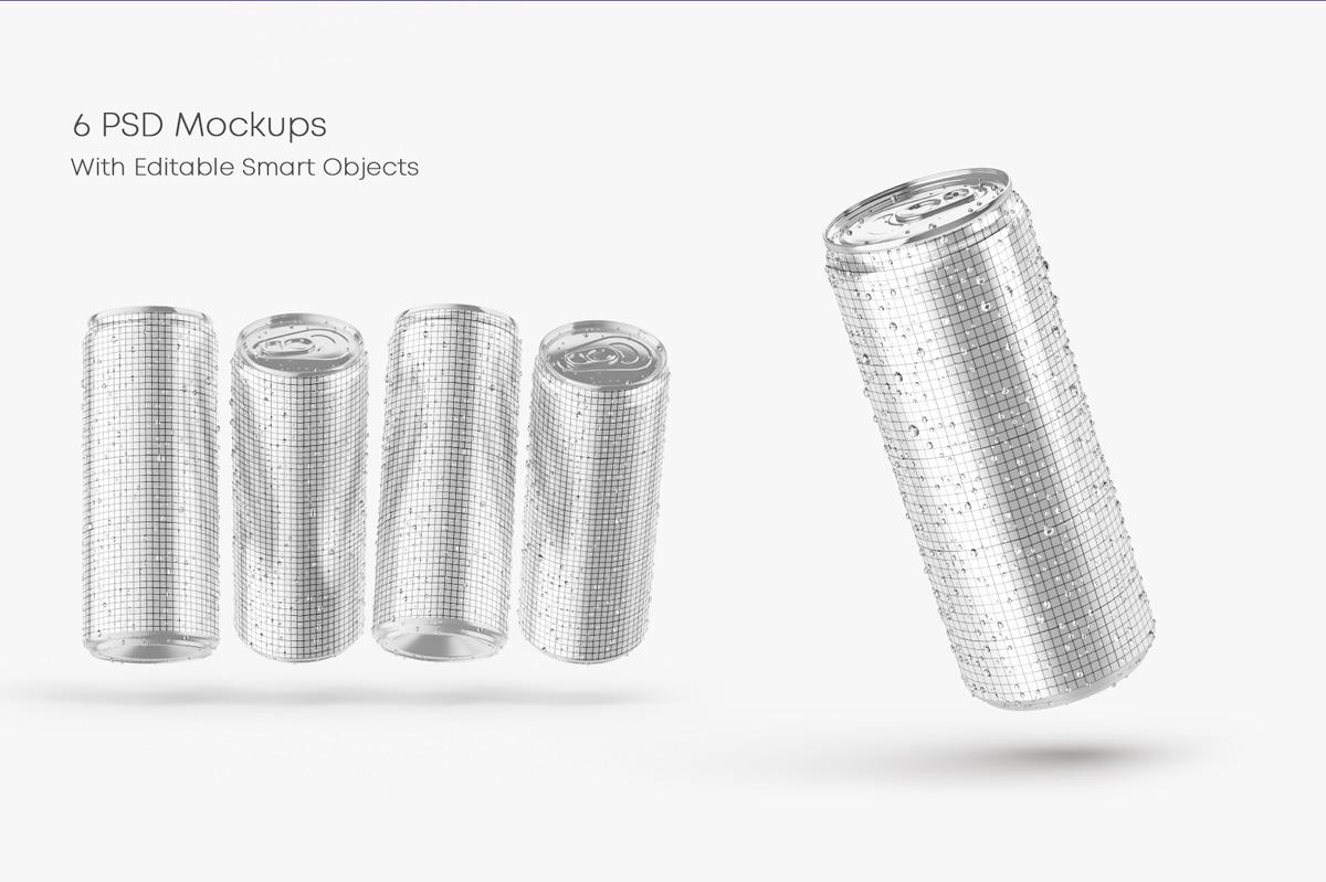 Glossy Metallic Can Mockup Set