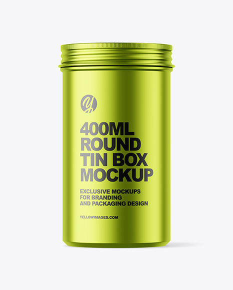 Download 400ml Matte Metallic Round Tin Box Mockup In Can Mockups On Yellow Images Object Mockups PSD Mockup Templates