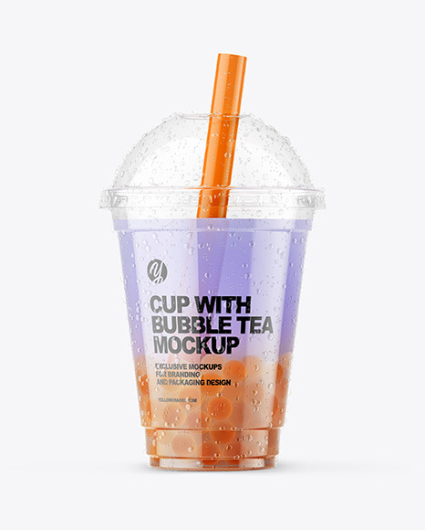 Fruit Bubble Tea Cup Mockup