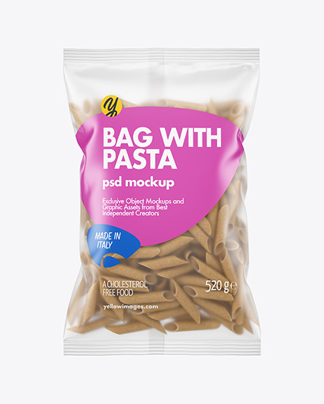 Whole Wheat Penne Pasta Matte Bag Mockup